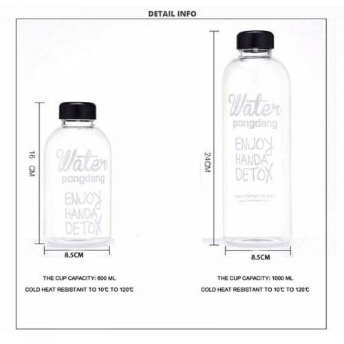 Bouteille d'eau en verre avec couvercle 0.6L/1.0L 2
