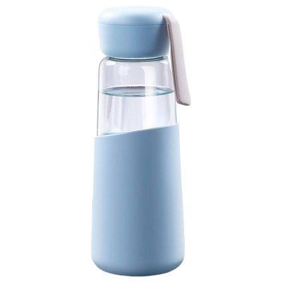 Bouteille d'eau en verre 400 ml (Bleu)
