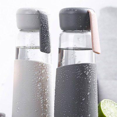 Bouteille d'eau en verre 400 ml (Gris foncé)