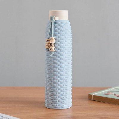 Bouteille d'eau en verre imitation rotin (Bleu 310 ml)