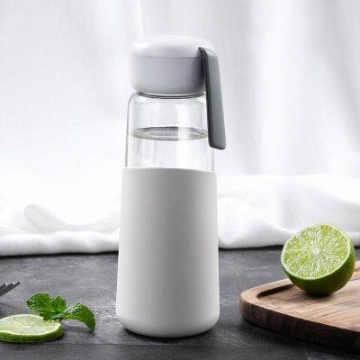 Bouteille d'eau en verre 400 ml (Gris clair)