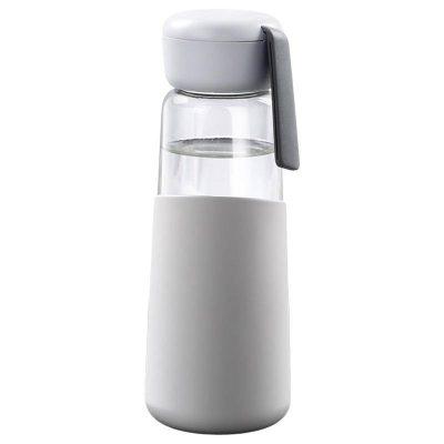 Bouteille d'eau en verre 400 ml Gris clair