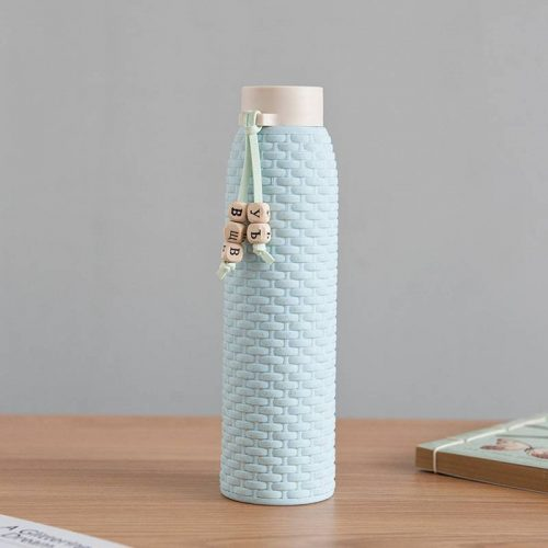 Bouteille d'eau en verre imitation rotin (Vert 310 ml)