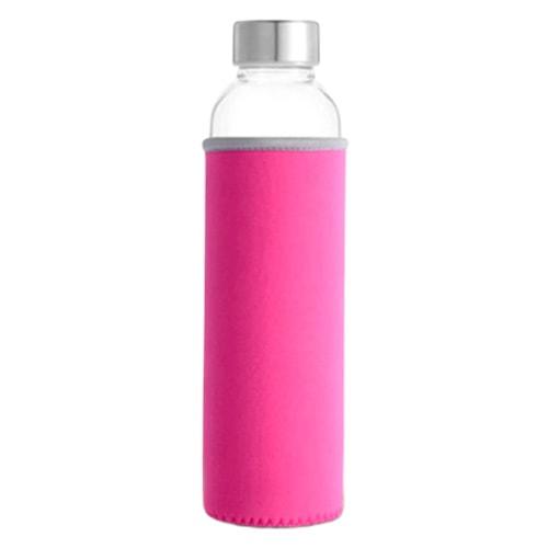 Bouteille d'eau en verre rose