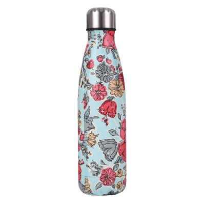 Gourde inox sans BPA en acier inoxydable Fleurs bleu ciel (Fleurs bleu ciel 500 ml)