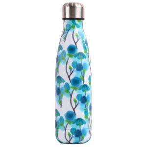 Gourde inox sans BPA en acier inoxydable (Fleurs bleues 500 ml)