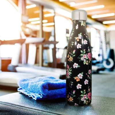 Gourde inox sans BPA en acier inoxydable Fleurs noir (Fleurs noir 500 ml)