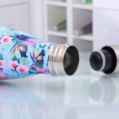 Bouteille d'eau sans BPA en acier inoxydable (Fleurs bleues 500 ml)