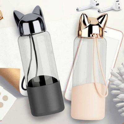 Bouteille d'eau en verre 350 ml bouchon tête de chat