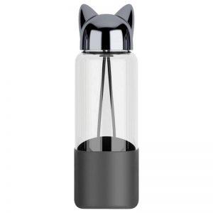 Bouteille d'eau en verre 350 ml bouchon tête de chat (Noir)