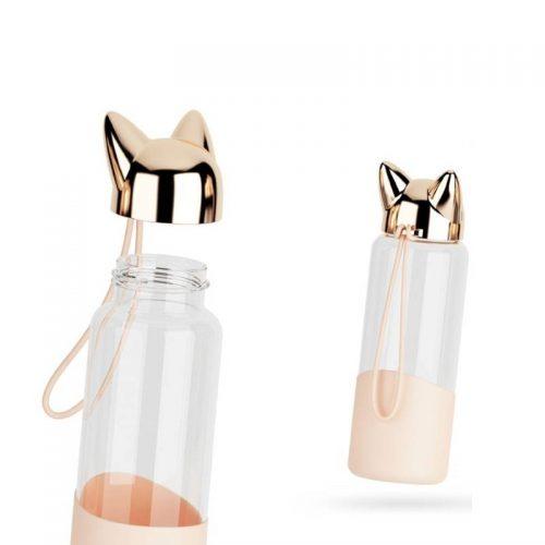 Bouteille d'eau en verre 350 ml bouchon tête de chat (Rose)