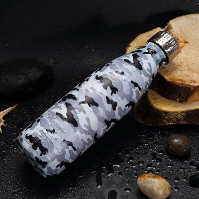 Gourde inox isotherme sans BPA réutilisable (Camouflage gris 500 ml)