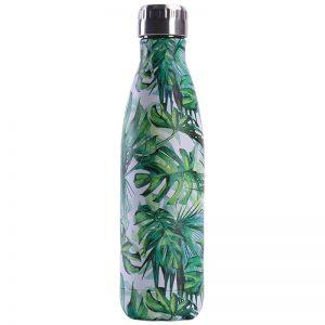 Gourde inox isotherme sans BPA réutilisable (Feuilles vertes 500 ml)