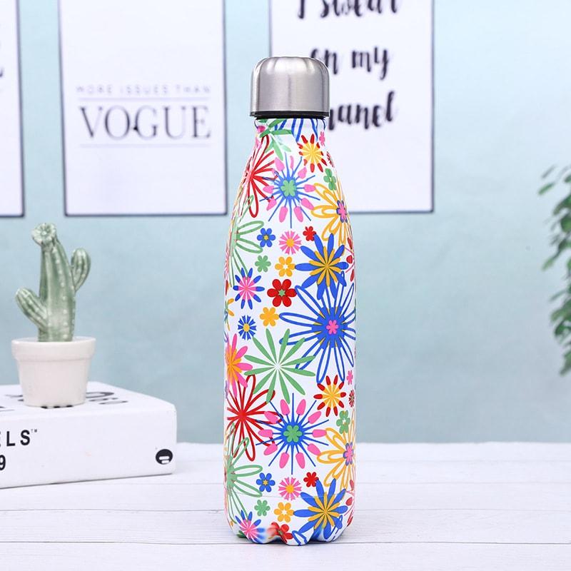 Gourde inox isotherme sans BPA réutilisable (Fleurs multicolores 500 ml)