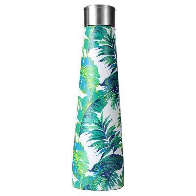 Gourde inox isotherme sans BPA réutilisable (Fleurs vertes 500 ml)