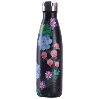Gourde inox isotherme sans BPA réutilisable Florale noire 500 ml