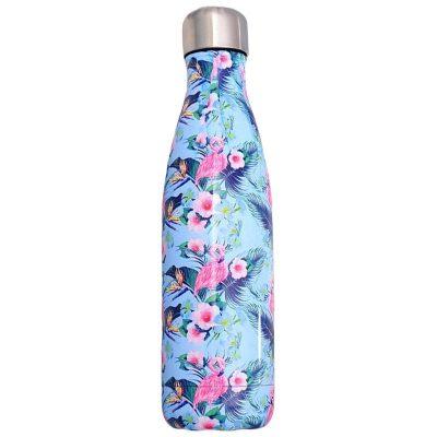 Gourde inox sans BPA réutilisable (Flamant rose fleuri 500 ml)
