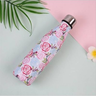 Gourde inox sans BPA réutilisable (Fleurs roses bleues 500 ml)