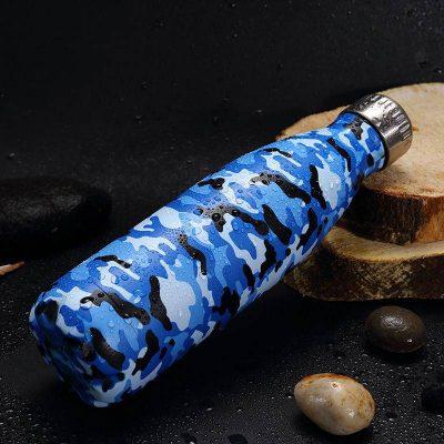 Gourde inox isotherme sans BPA réutilisable Camouflage bleu 500 ml