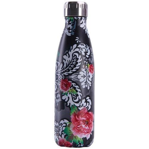 Gourde inox isotherme sans BPA réutilisable (Noir fleurs roses 500 ml)