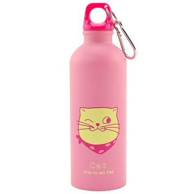 Gourde inox pour enfant 500 ml (Rose Chat)