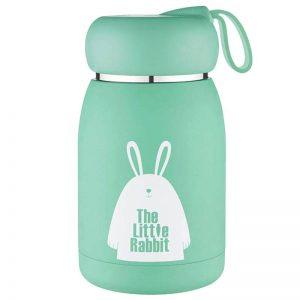 Petite gourde inox pour enfant (Petit lapin vert 330 ml)
