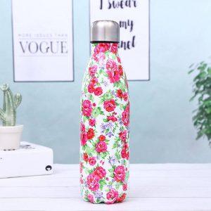 Gourde inox isotherme sans BPA réutilisable (Fleurs rose vert 500 ml)