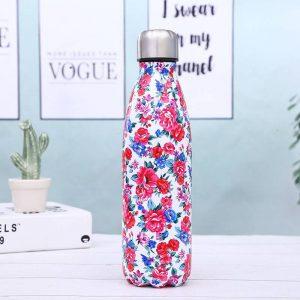 Gourde inox isotherme sans BPA réutilisable (Fleurs rouge bleu 500 ml)