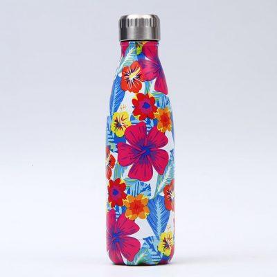 Gourde inox isotherme sans BPA réutilisable (Florale 500 ml) Gourde inox