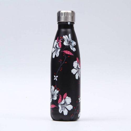 Gourde inox isotherme sans BPA réutilisable (Florale Noir 500 ml) Gourde inox