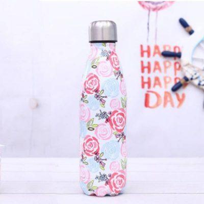 Gourde inox sans BPA réutilisable (Fleurs roses bleues 500 ml) Gourde inox
