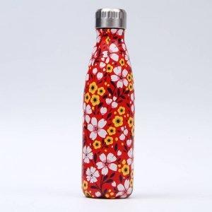 Gourde inox isotherme sans BPA réutilisable (Florale Rouge 500 ml)