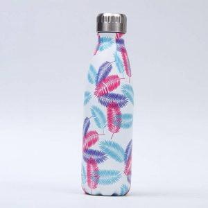 Gourde inox isotherme sans BPA réutilisable (Plumes)