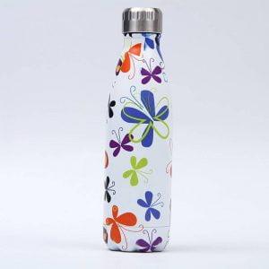 Gourde inox isotherme sans BPA réutilisable (Papillons)