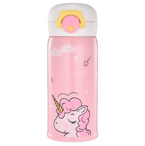 Gourde Inox Licorne rose pour enfant 350 ml 1