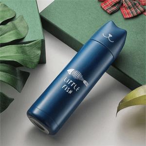 Gourde inox 500 ml motif chat (Bleu)