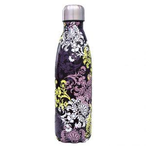 Gourde inox sans BPA réutilisable (Fleur violet jaune 500 ml)