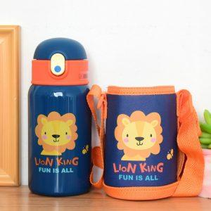 Petite gourde inox pour enfant avec étui (Lion 400 ml)