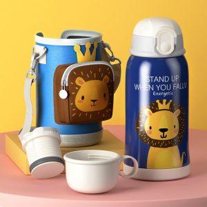 Petite gourde inox pour enfant avec étui (Lion 550 ml)