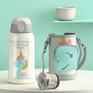 Petite gourde inox pour enfant avec étui (Licorne 550 ml)