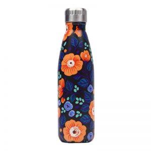 Gourde inox isotherme sans BPA réutilisable (Florale Orange 500 ml)