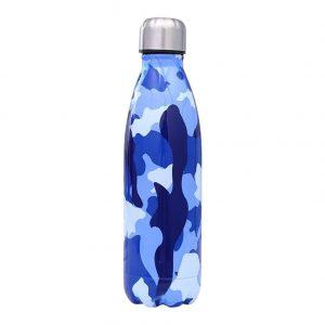 Gourde inox isotherme sans BPA réutilisable (Camouflage bleu 500 ml)