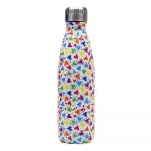 Gourde inox isotherme sans BPA réutilisable (Coeurs)