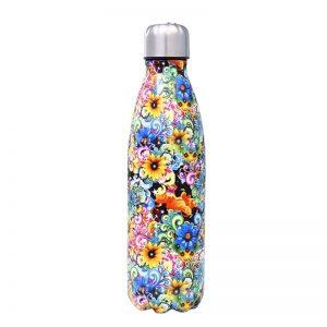 Gourde inox sans BPA réutilisable (Fleurs multicolores 500 ml)