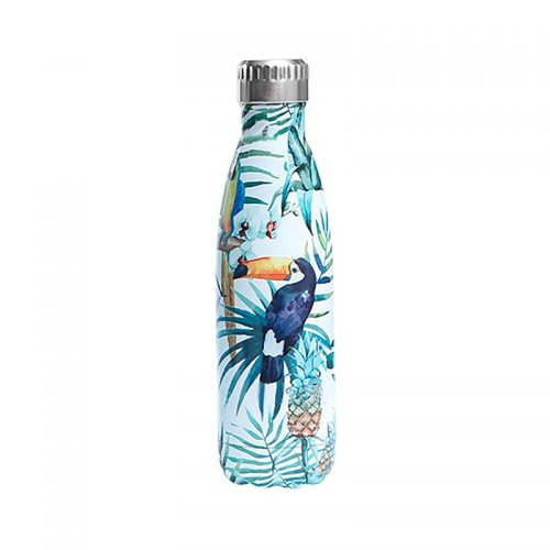 Gourde inox isotherme Toucan Feuillage 500 ml Bleu