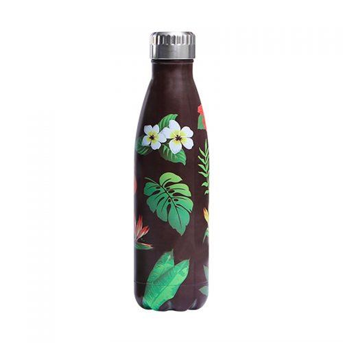 Gourde inox isotherme florale 500 ml Noir Vert