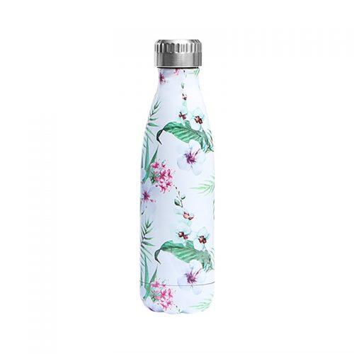 Gourde inox isotherme florale 500 ml blanc vert