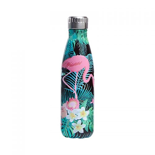 Gourde inox isotherme florale flamant rose 500 ml