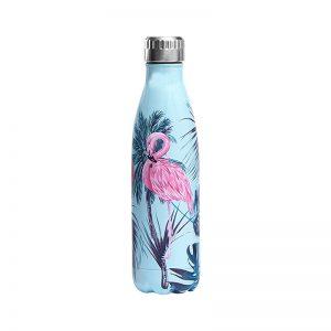 Gourde inox isotherme Flamant Rose 500 ml Bleu