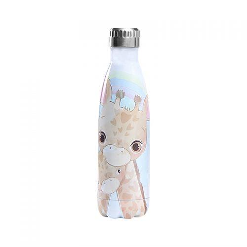 Gourde inox isotherme Bébé Girafe 500 ml Blanc